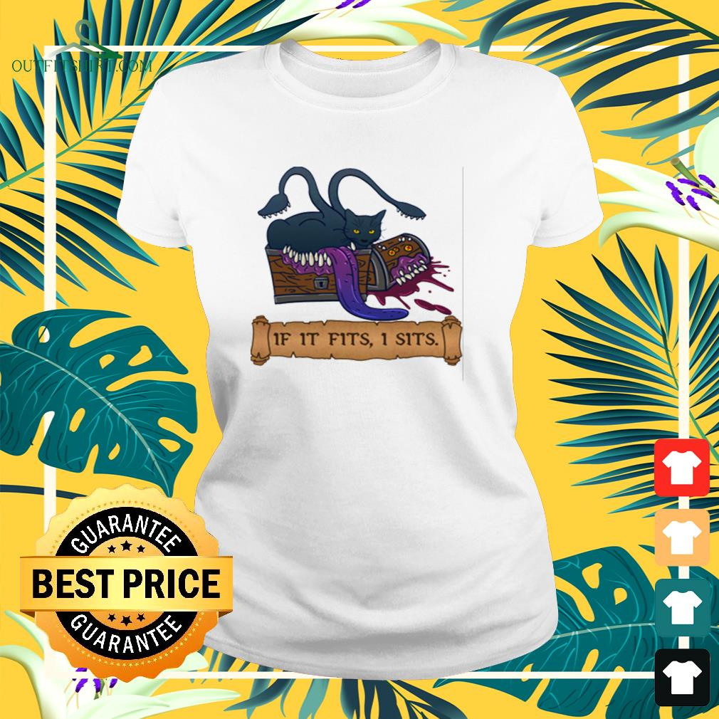 Monster cat If it fits I sits ladies-tee