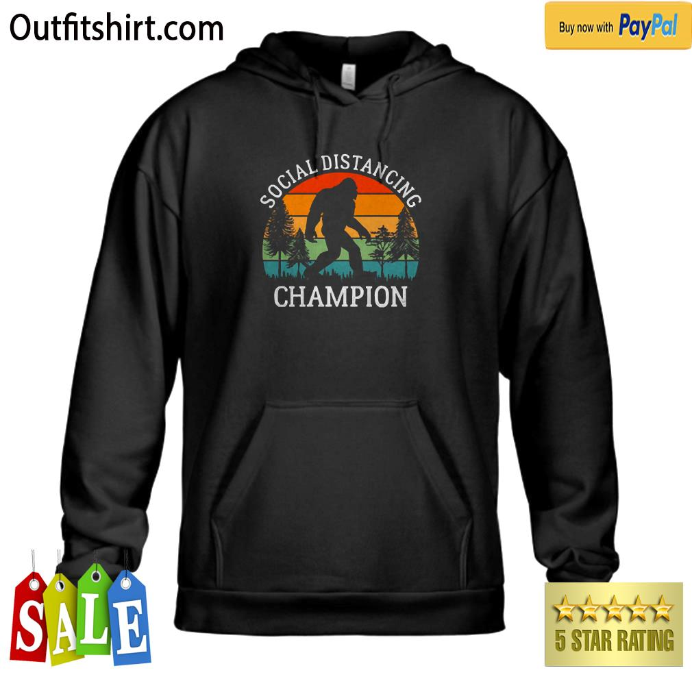 Retro Social Distancing Champion Shirt Funny Bigfoot hoodie