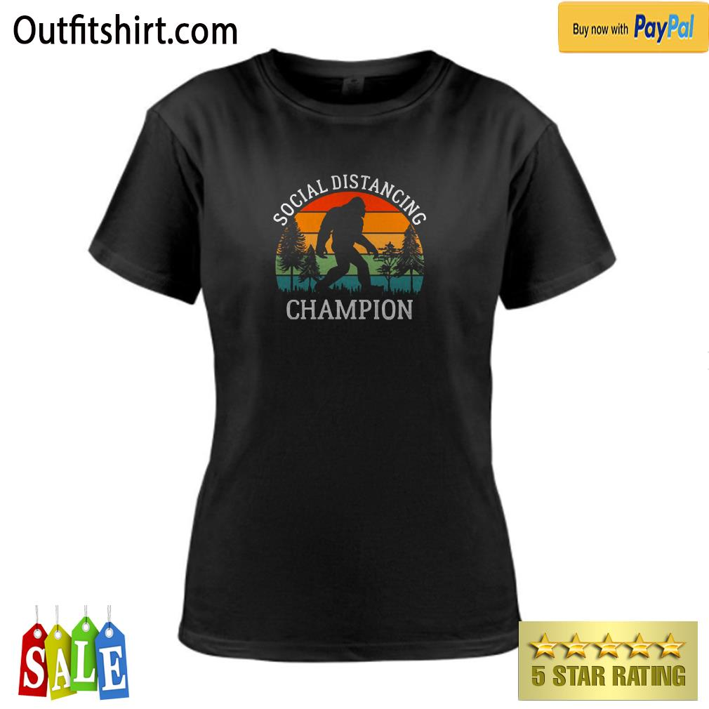 Retro Social Distancing Champion Shirt Funny Bigfoot ladies-tee