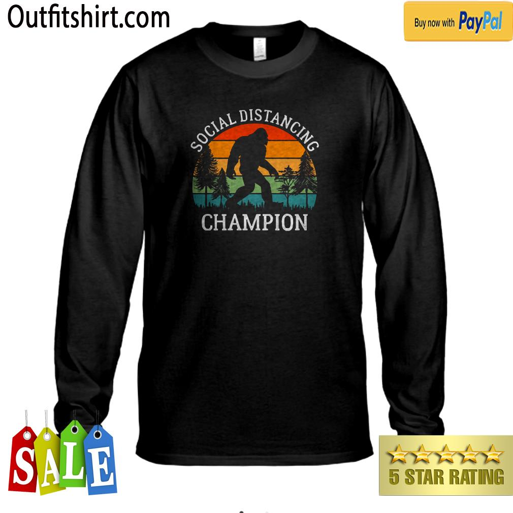 Retro Social Distancing Champion Shirt Funny Bigfoot  longsleeve-tee