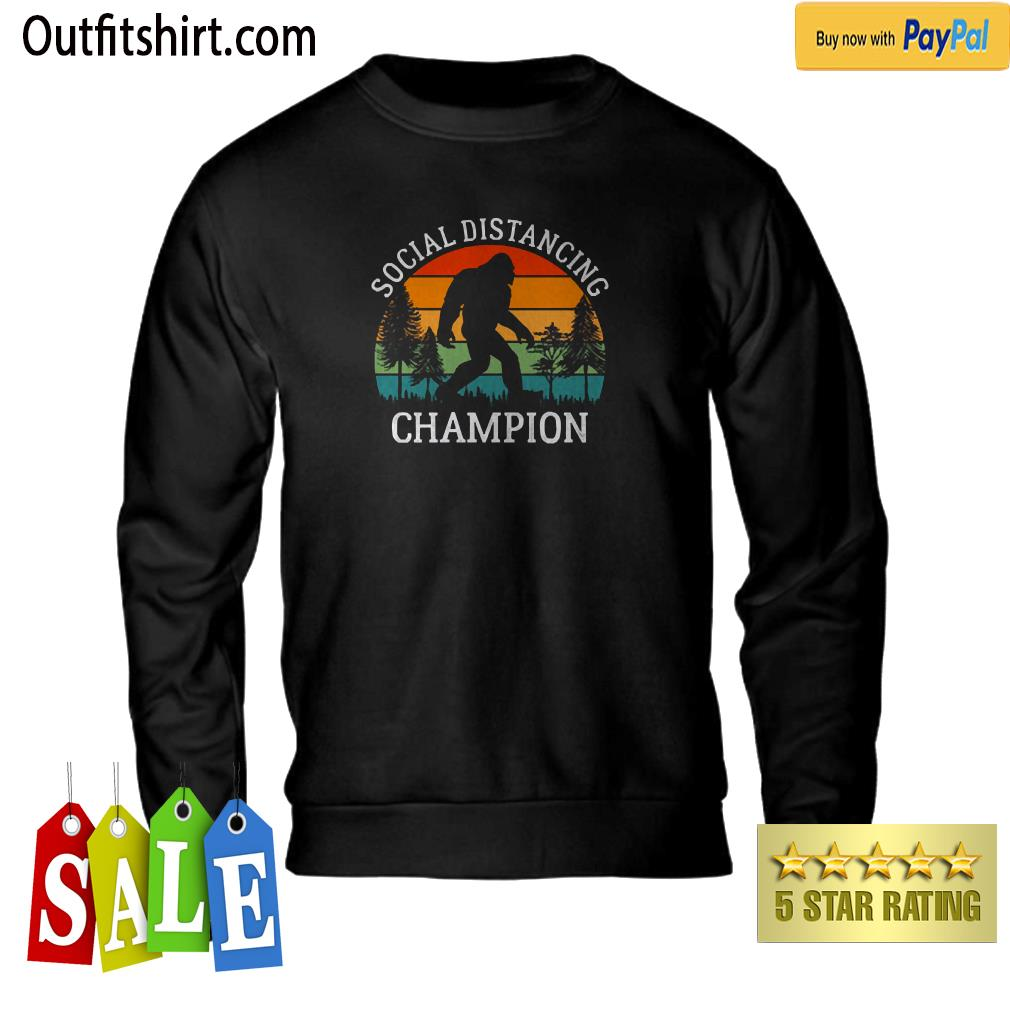 Retro Social Distancing Champion Shirt Funny Bigfoot sweater