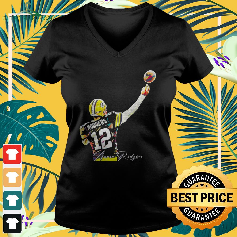 12 Aaron Rodgers Green Bay Packers signature v-neck t-shirt