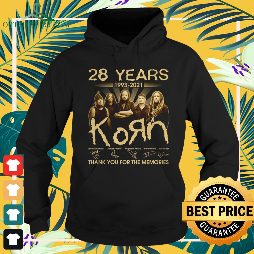 28 Years 1993-2021 KoЯn band thank you for the memories signature hoodie