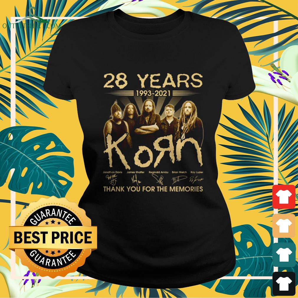 28 Years 1993-2021 KoЯn band thank you for the memories signature ladies-tee