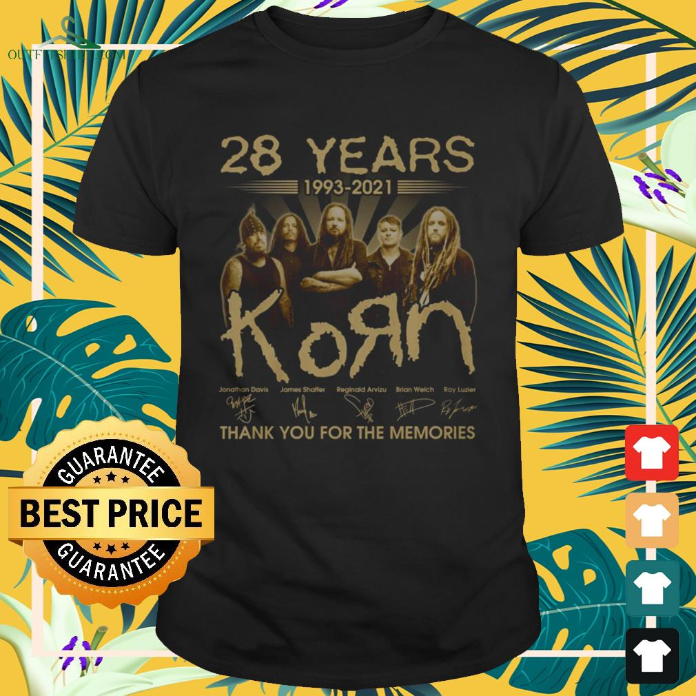 28 Years 1993-2021 KoЯn band thank you for the memories signature shirt