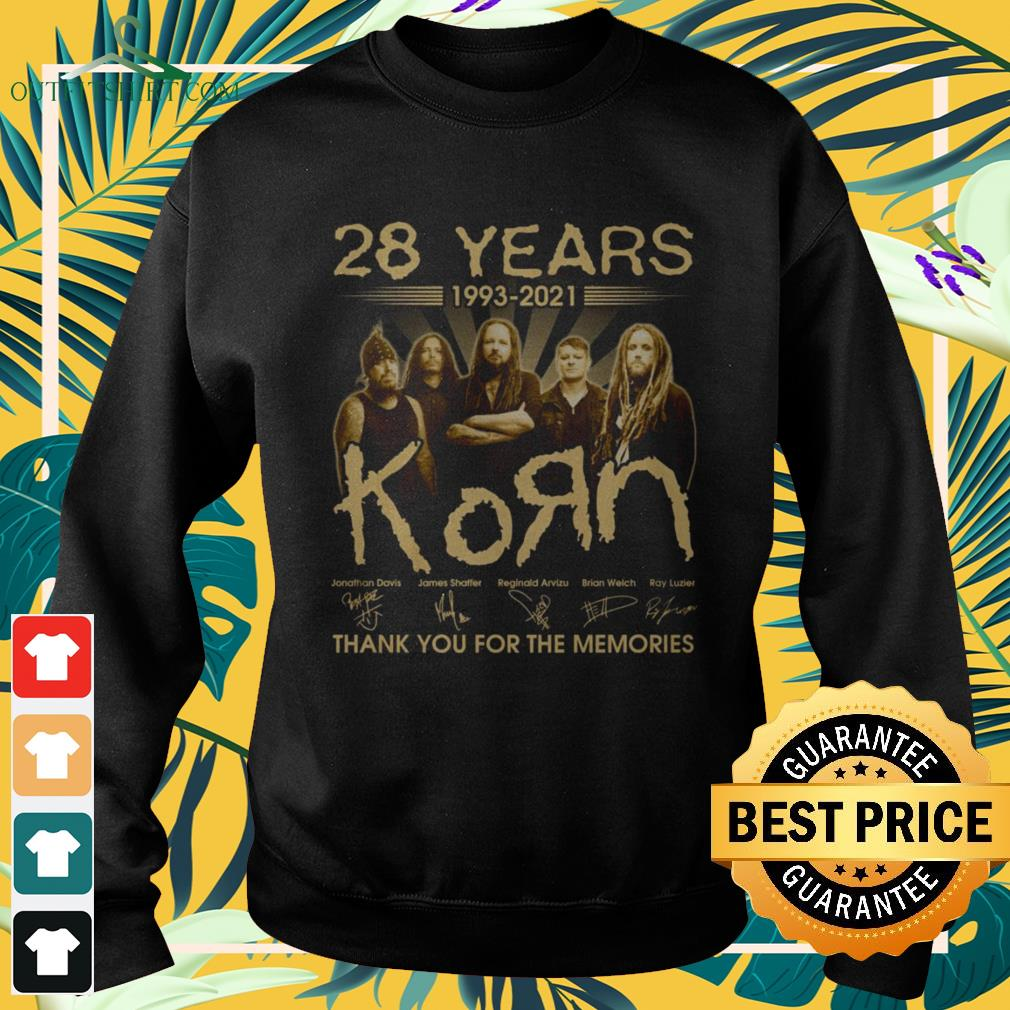 28 Years 1993-2021 KoЯn band thank you for the memories signature sweater