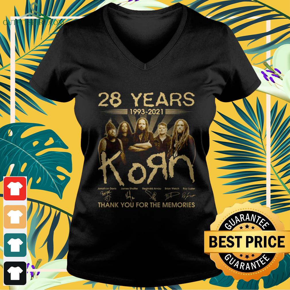 28 Years 1993-2021 KoЯn band thank you for the memories signature v-neck t-shirt
