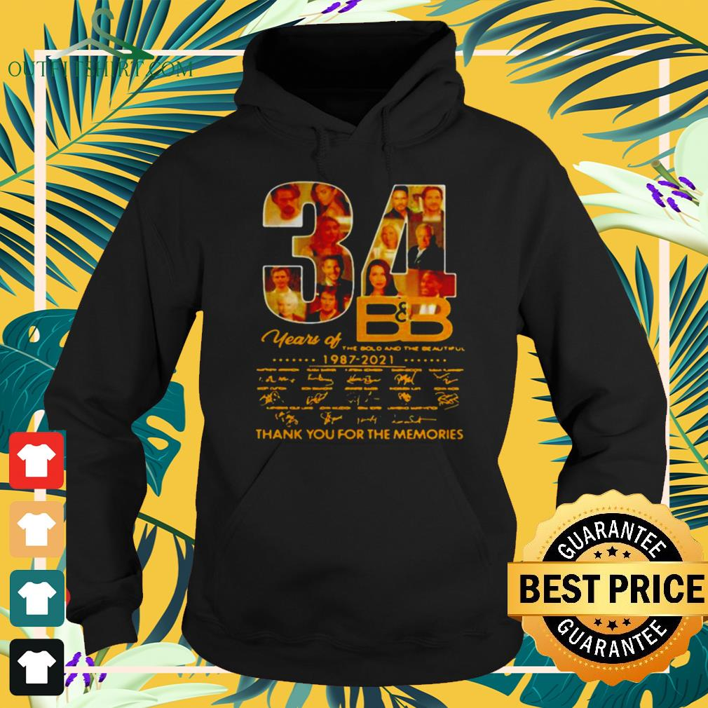 34 Years Of B'B The Bold And The Beautiful 1987 2021 signatures thank you for the memories hoodie