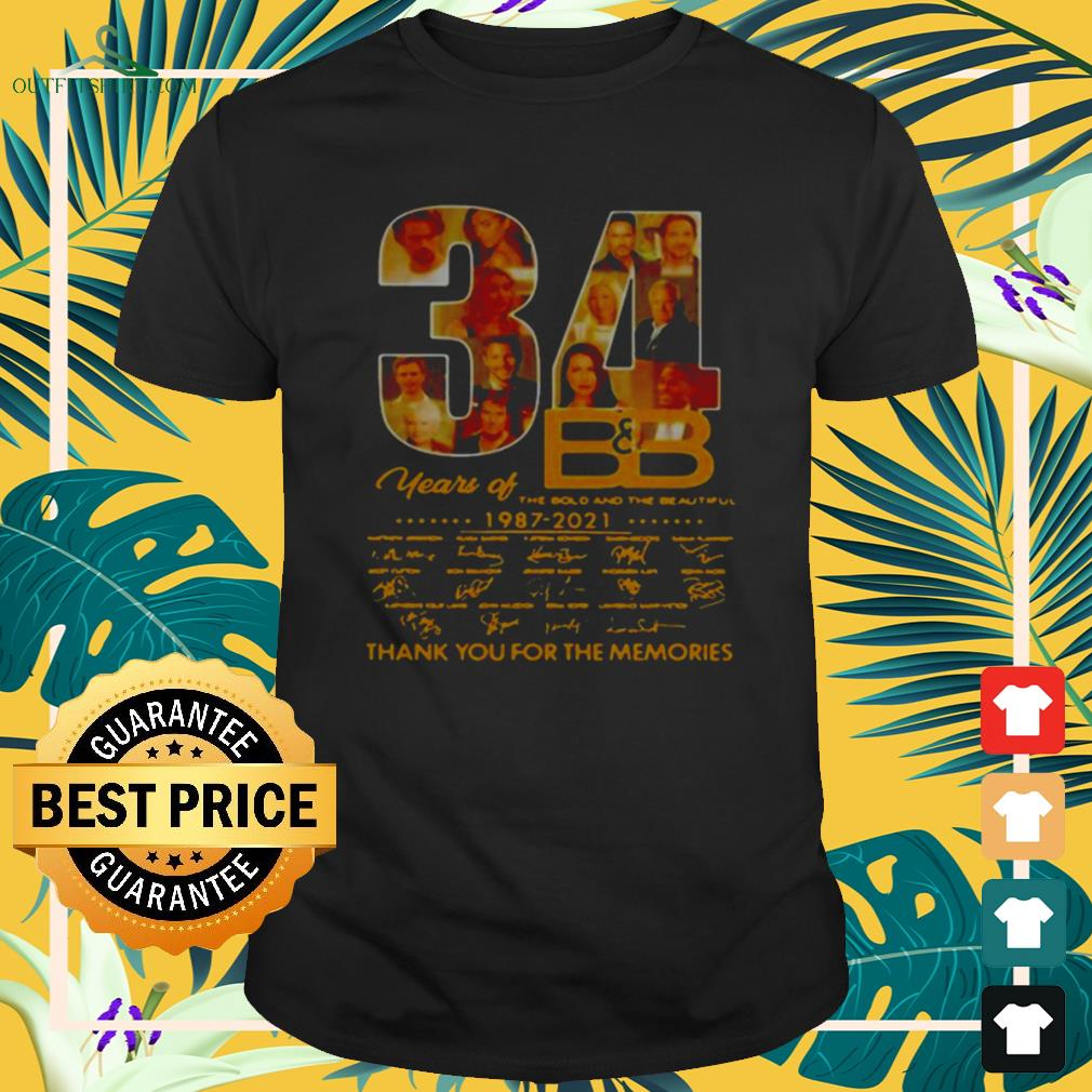 34 Years Of B'B The Bold And The Beautiful 1987 2021 signatures thank you for the memories shirt