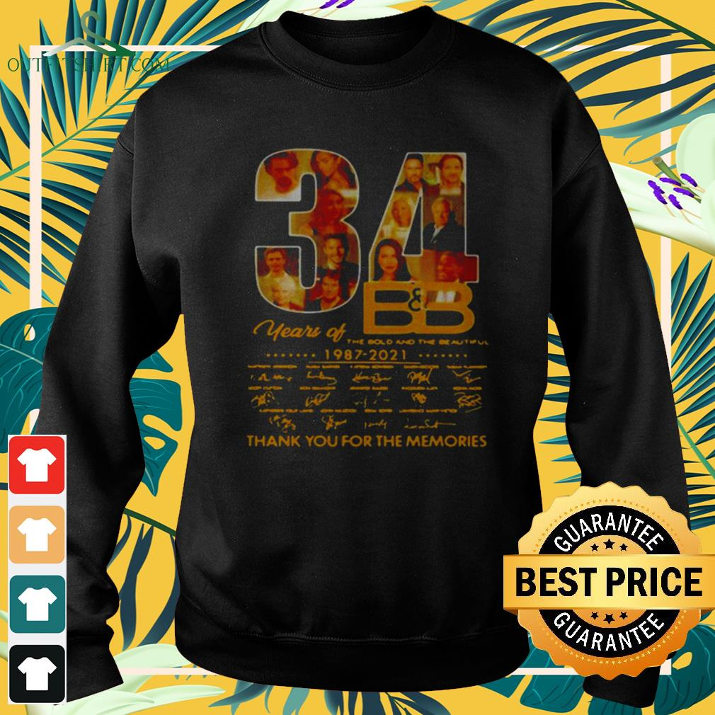 34 Years Of B'B The Bold And The Beautiful 1987 2021 signatures thank you for the memories sweater