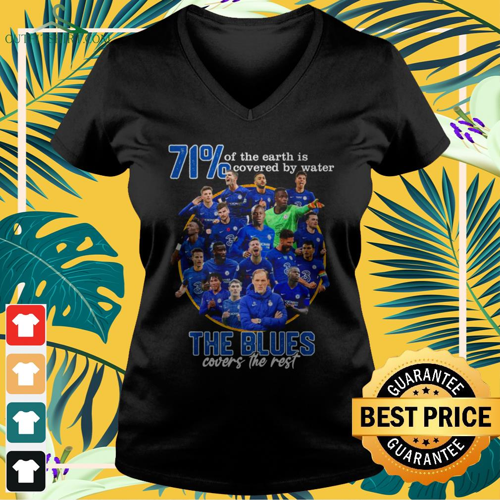 71' of the Earth is covered by water The Blues covers the rest v-neck t-shirt