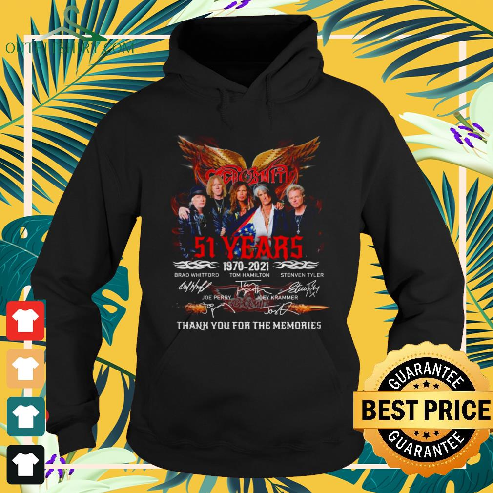 Aerosmith band 51st anniversary 1970 2021 signatures thank you for the memories hoodie