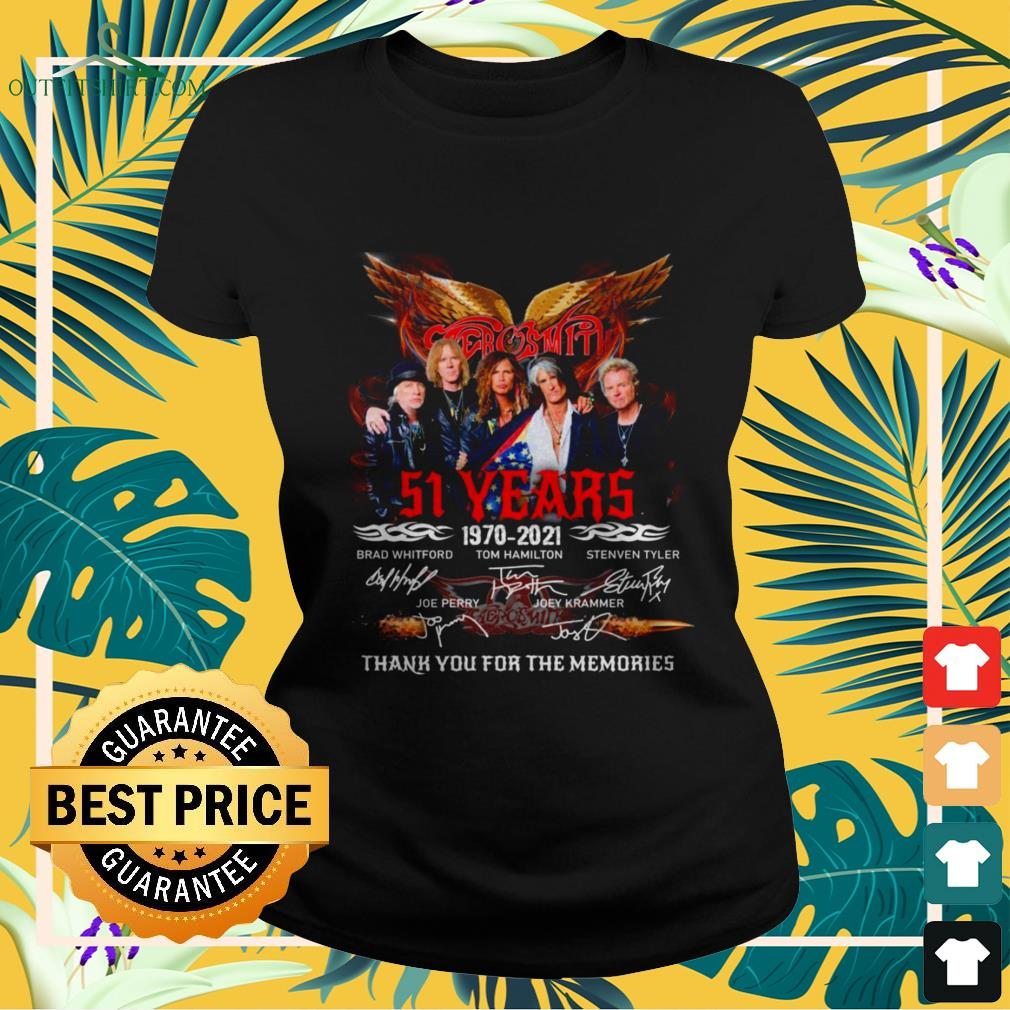 Aerosmith band 51st anniversary 1970 2021 signatures thank you for the memories ladies-tee