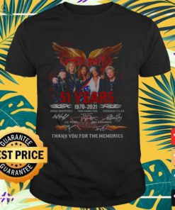 Aerosmith band 51st anniversary 1970 2021 signatures thank you for the memories shirt