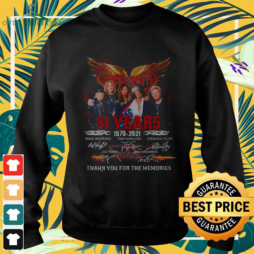 Aerosmith band 51st anniversary 1970 2021 signatures thank you for the memories sweater
