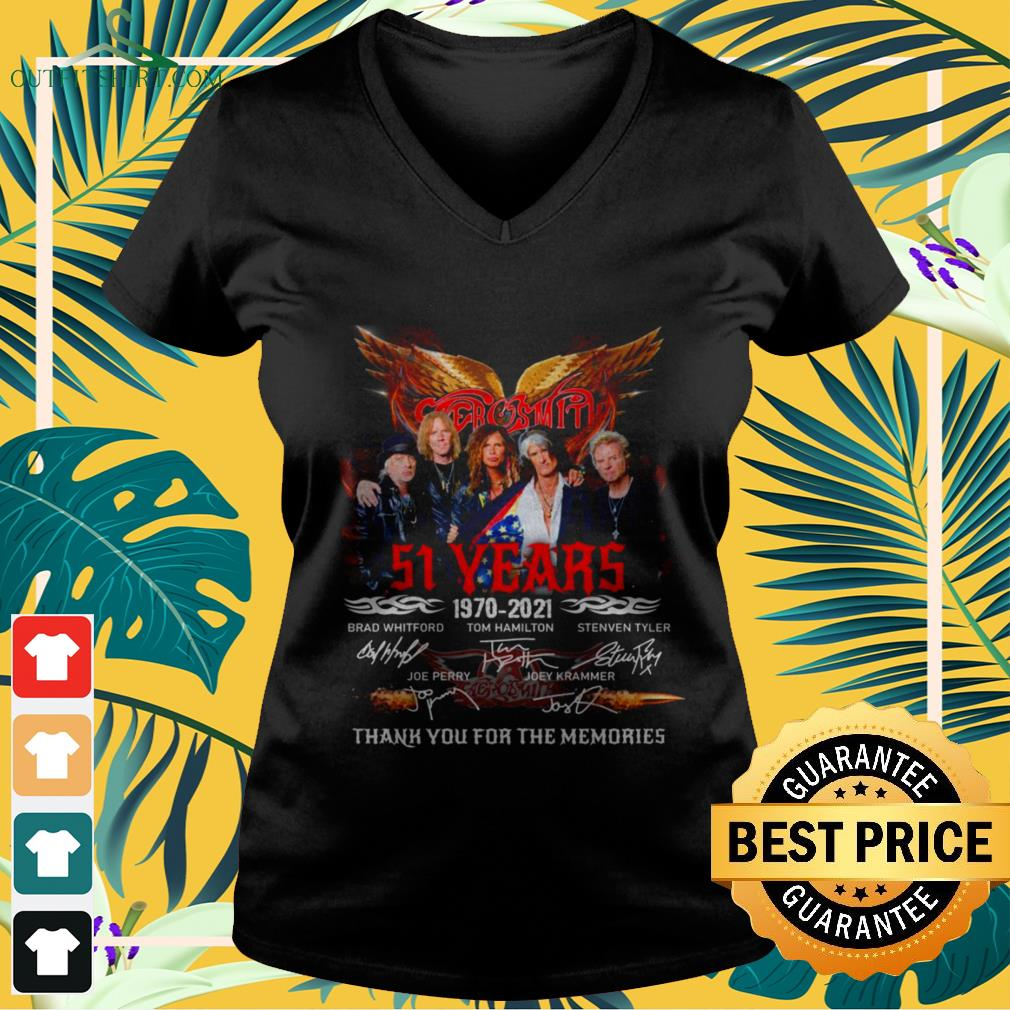 Aerosmith band 51st anniversary 1970 2021 signatures thank you for the memories v-neck t-shirt