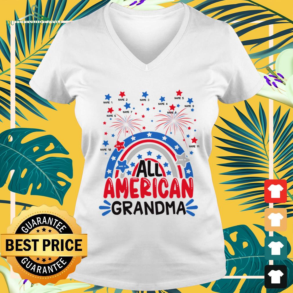 All American Grandma Happy Independence Day v-neck t-shirt