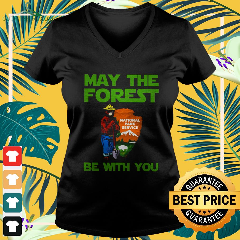 Bear may the forest be with you national park service v-neck t-shirt