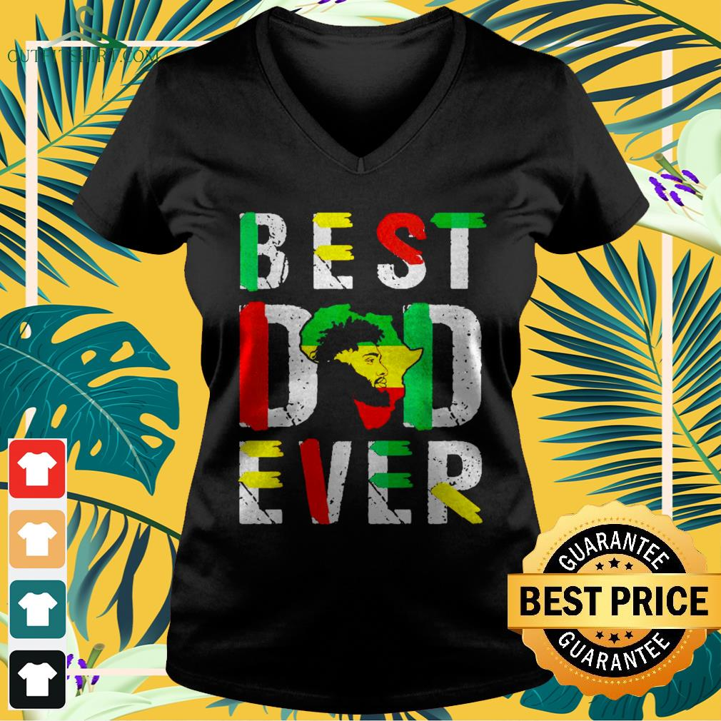 Best dad ever flag africa map freedom day V neck t shirt