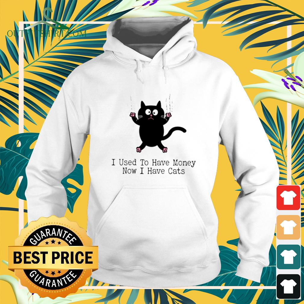 Black cat I used to have money now I have cats hoodie