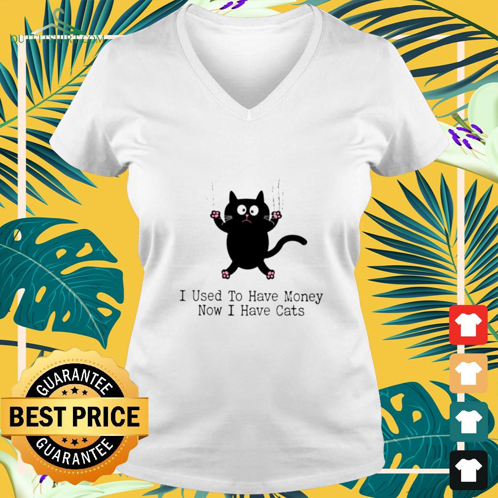 Black cat I used to have money now I have cats v-neck t-shirt