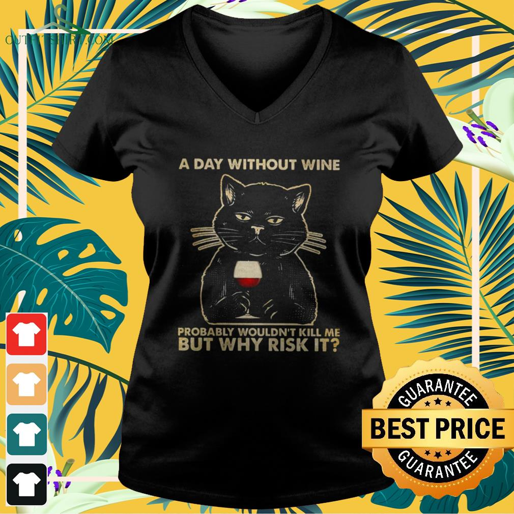Black cat a day without wine probably wouldn't kill me but why risk it v-neck t-shirt