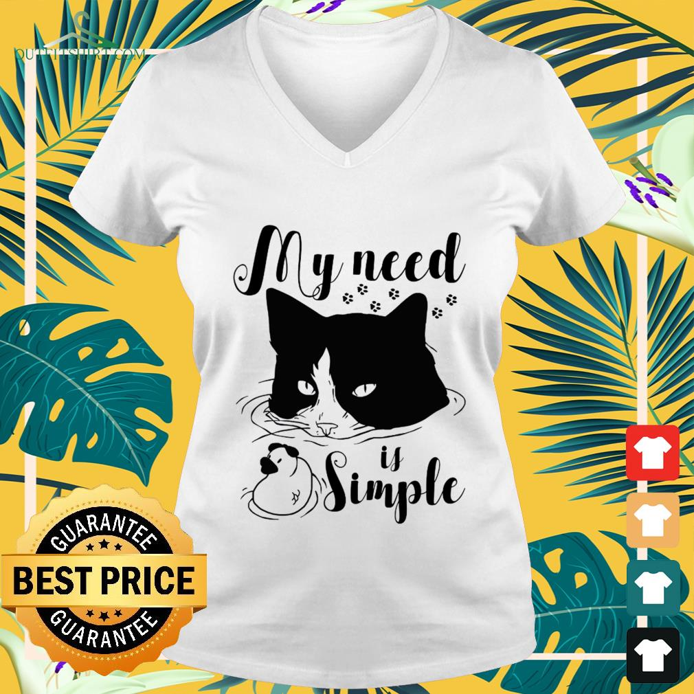 Black cat and duck my need is simple v-neck t-shirt