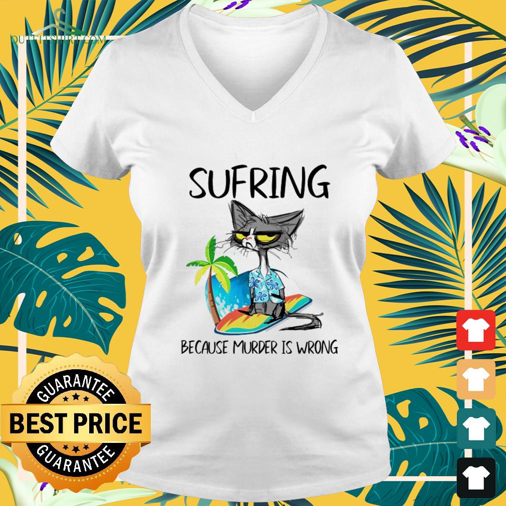 Black cat sufring because murder is wrong v-neck t-shirt
