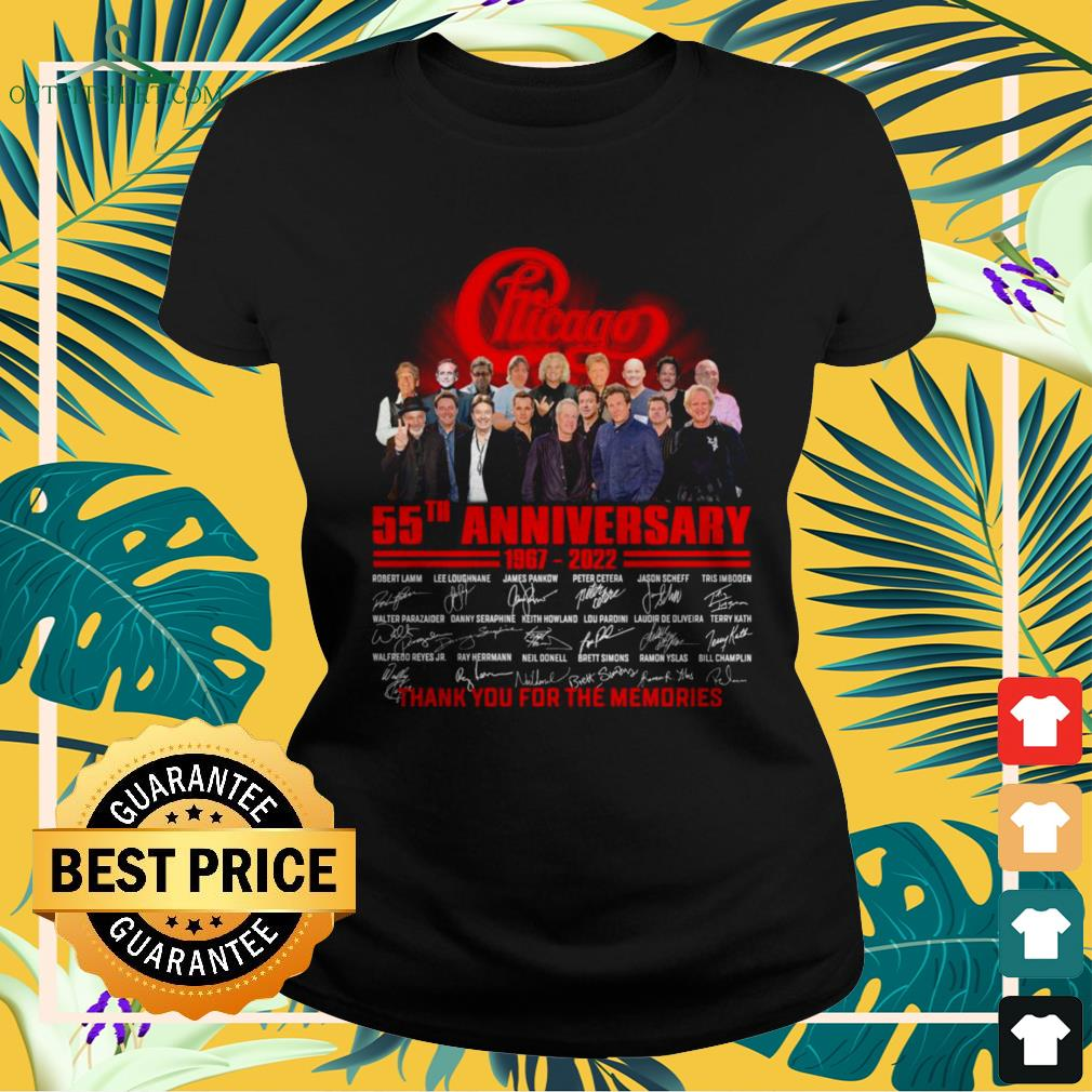 Chicago 55th anniversary 1967-2022 thank you for the memories ladies-tee
