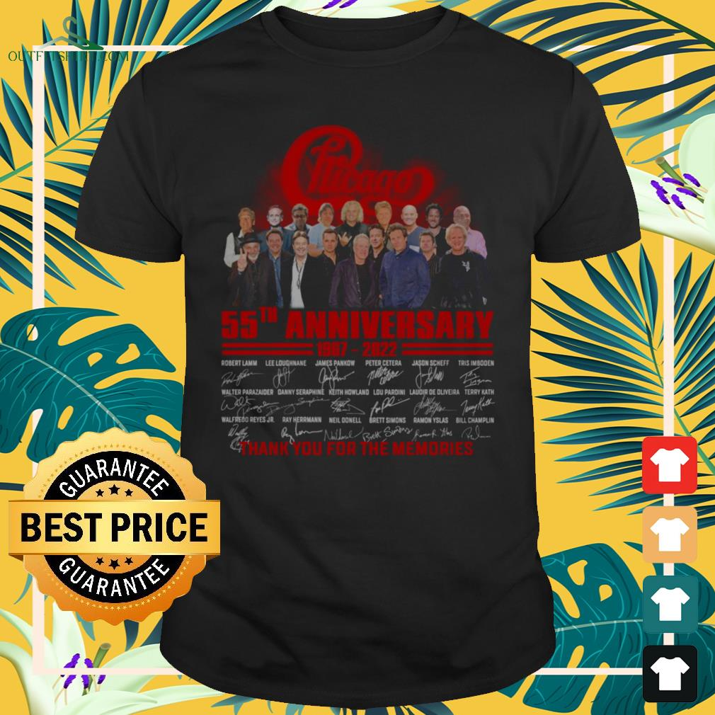 Chicago 55th anniversary 1967-2022 thank you for the memories shirt