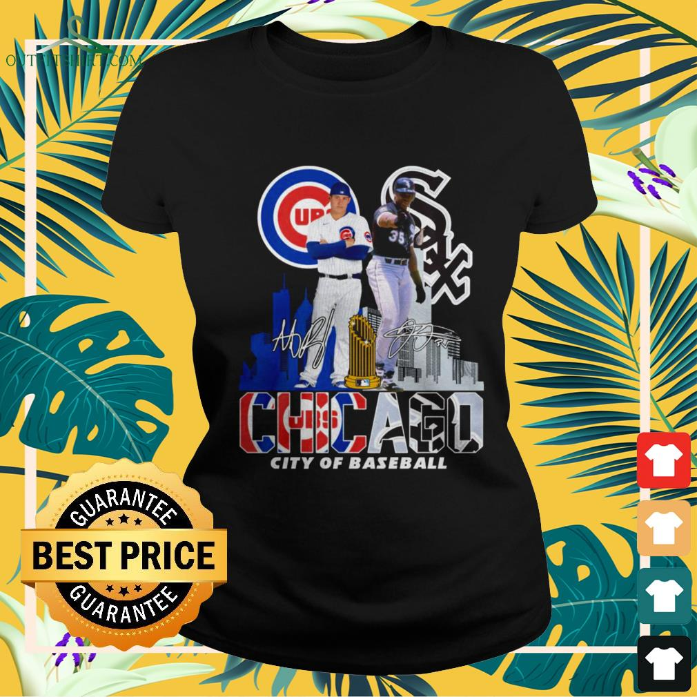 Chicago Cubs and Chicago White Sox city of baseball signature ladies-tee