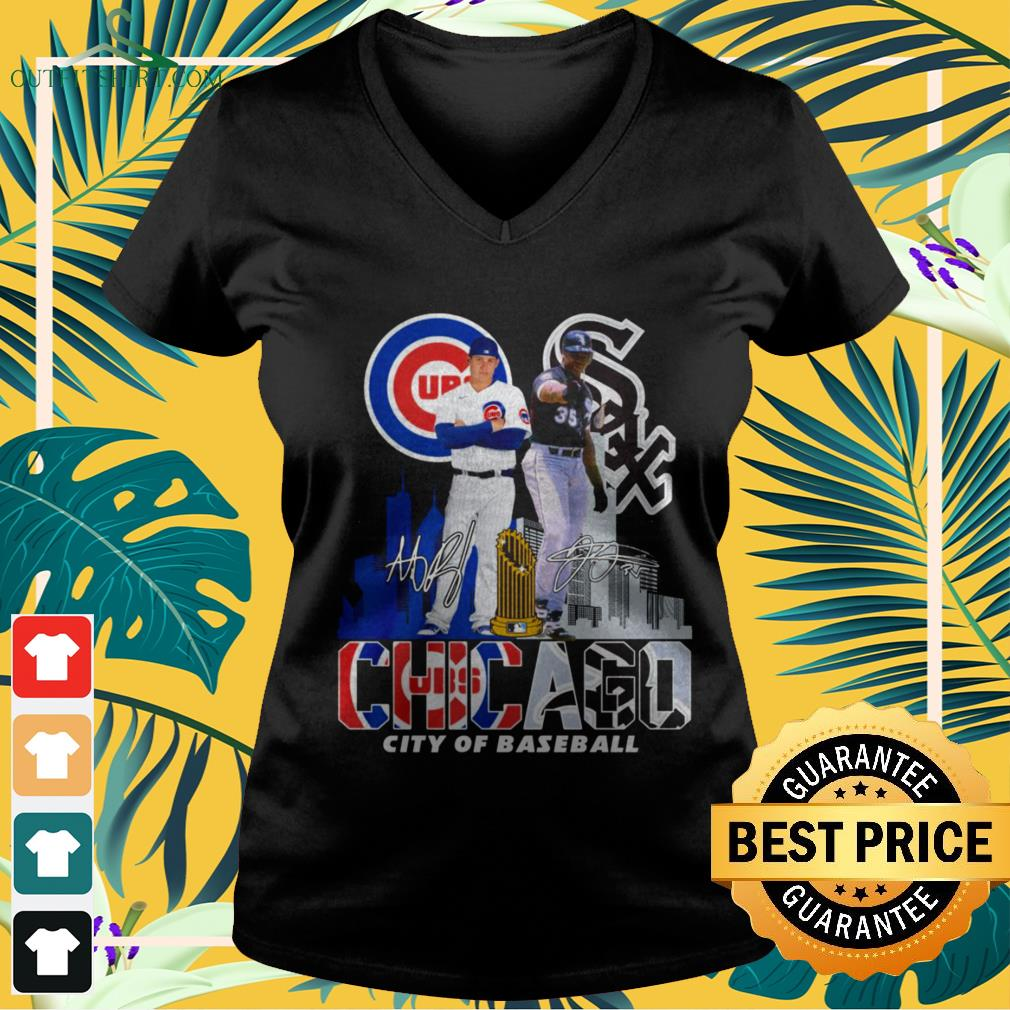 Chicago Cubs and Chicago White Sox city of baseball signature v-neck t-shirt