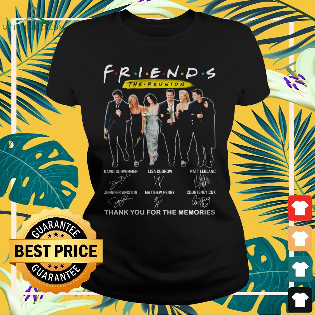 Friends TV Show The Reunion thank you for th memories signatures ladies-tee