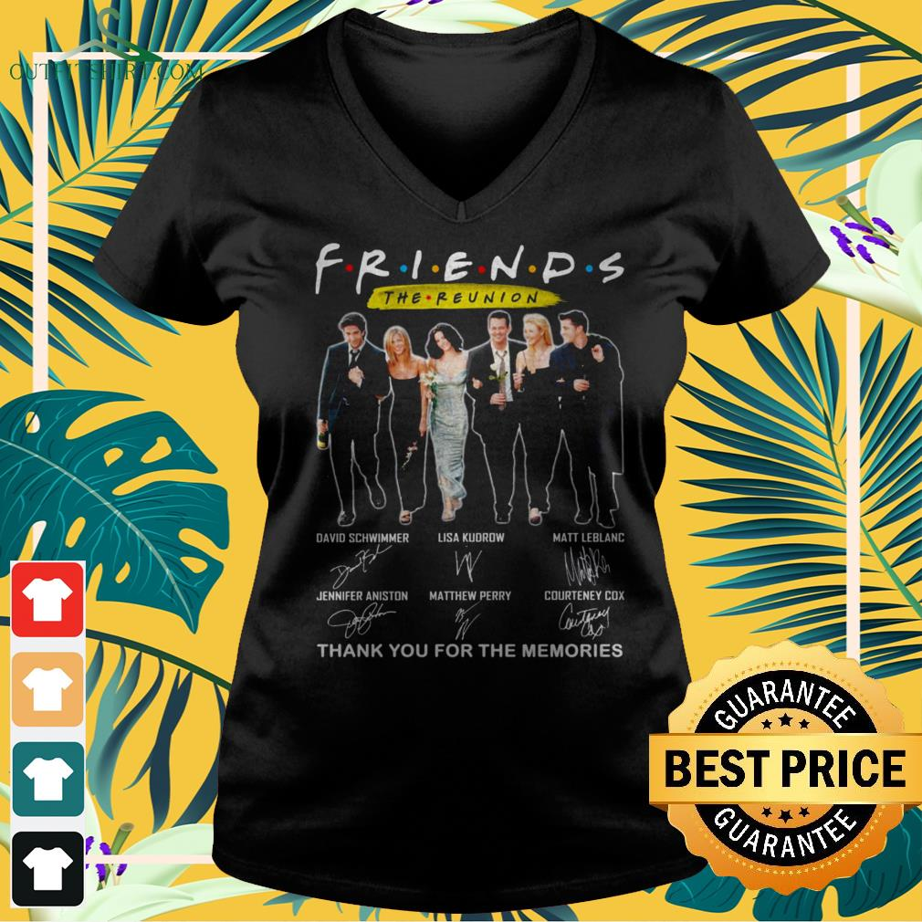 Friends TV Show The Reunion thank you for th memories signatures v-neck t-shirt
