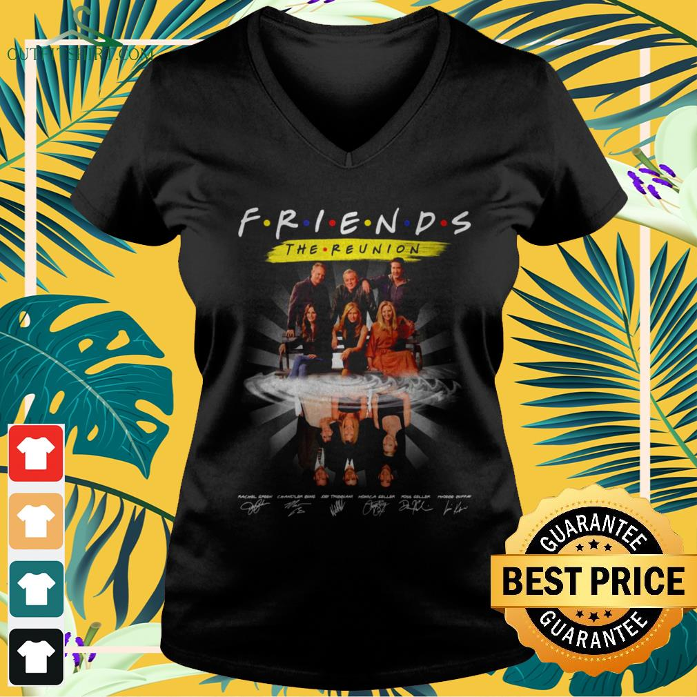 Friends The Reunion name and signature characters v-neck t-shirt