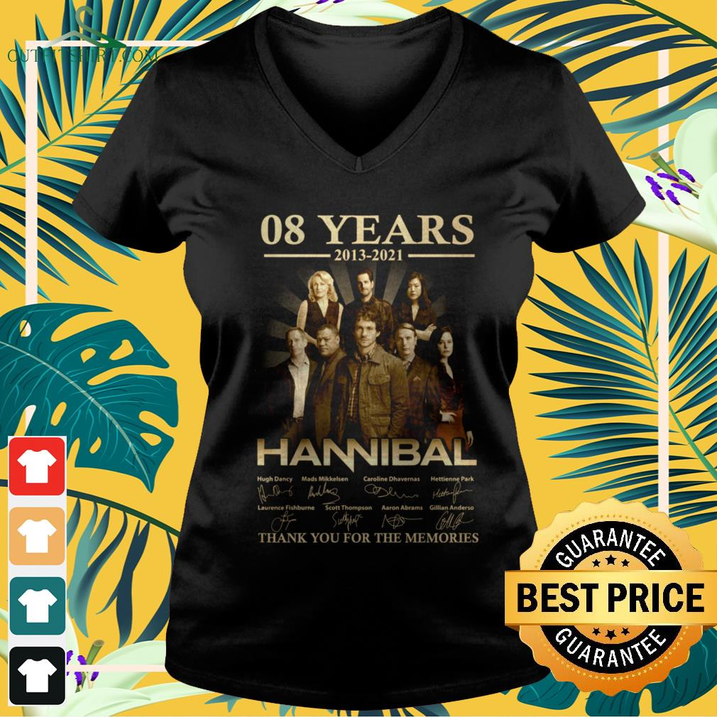 Hannibal Horror Series 08 years 2013-2021 signature thank you for the memories v-neck t-shirt