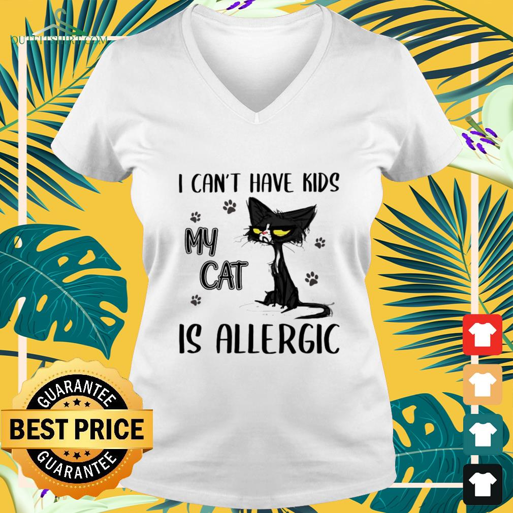 I can't have kids my cat is allergic v-neck t-shirt