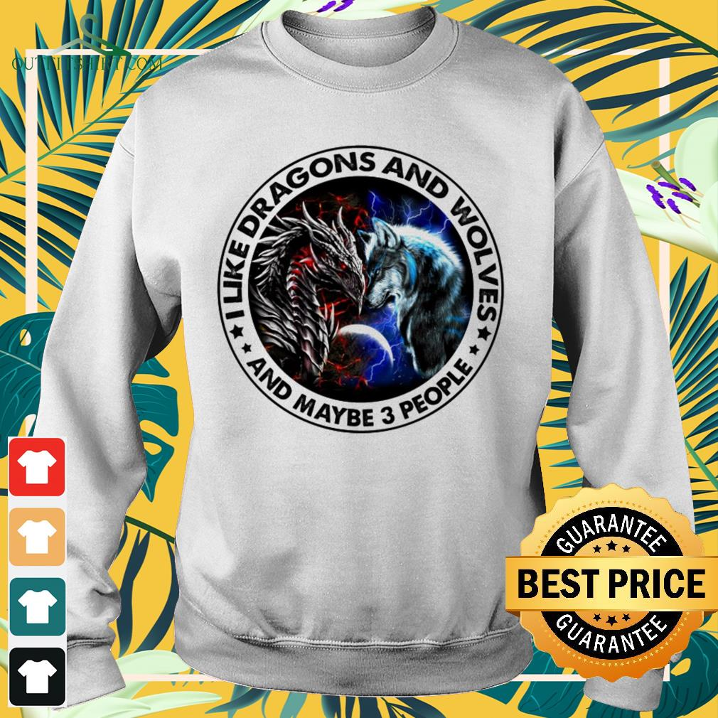 I like dragons and wolves and maybe 3 people Sweater