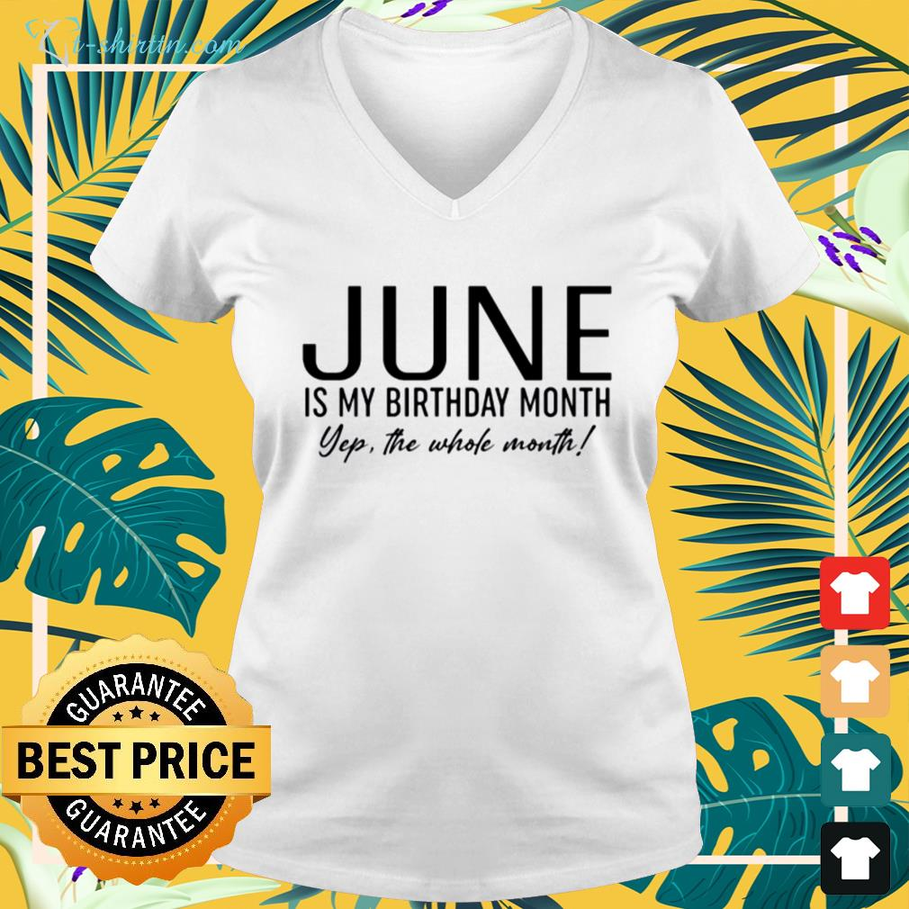 June is my birthday month yep the whole month v-neck t-shirt