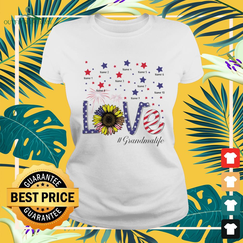 Love #Grandmalife sunflower 4th of July Independence Day ladies-tee