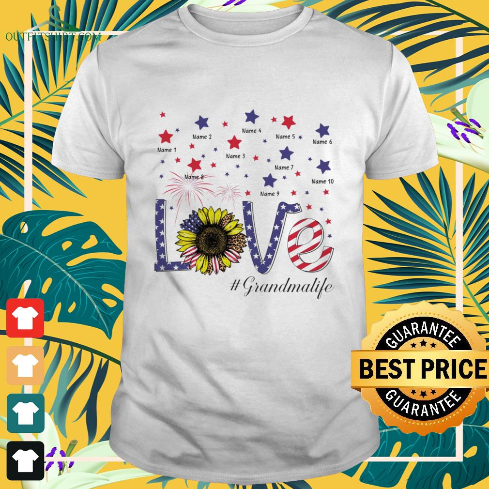 Love #Grandmalife sunflower 4th of July Independence Day shirt
