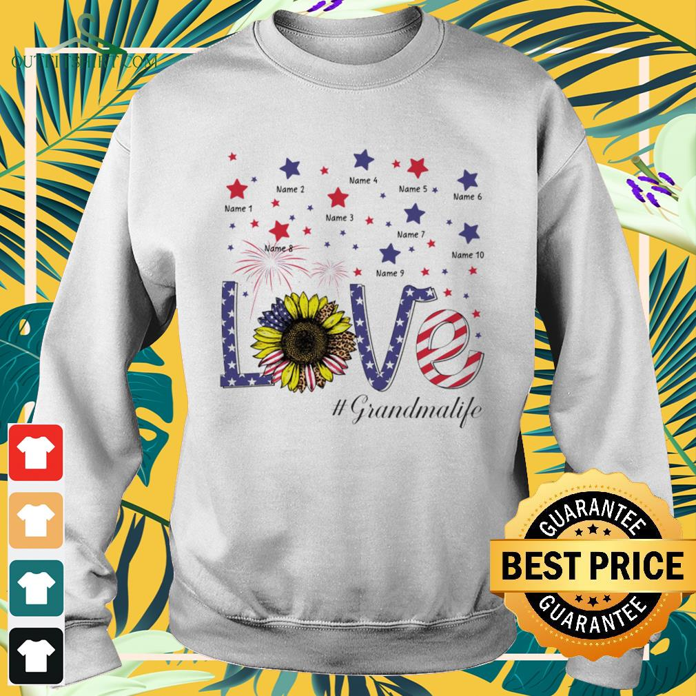 Love #Grandmalife sunflower 4th of July Independence Day sweater
