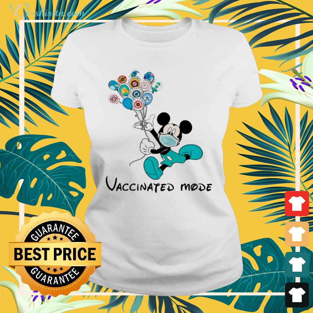 Mickey Mouse face mask vaccinated mode ladies-tee