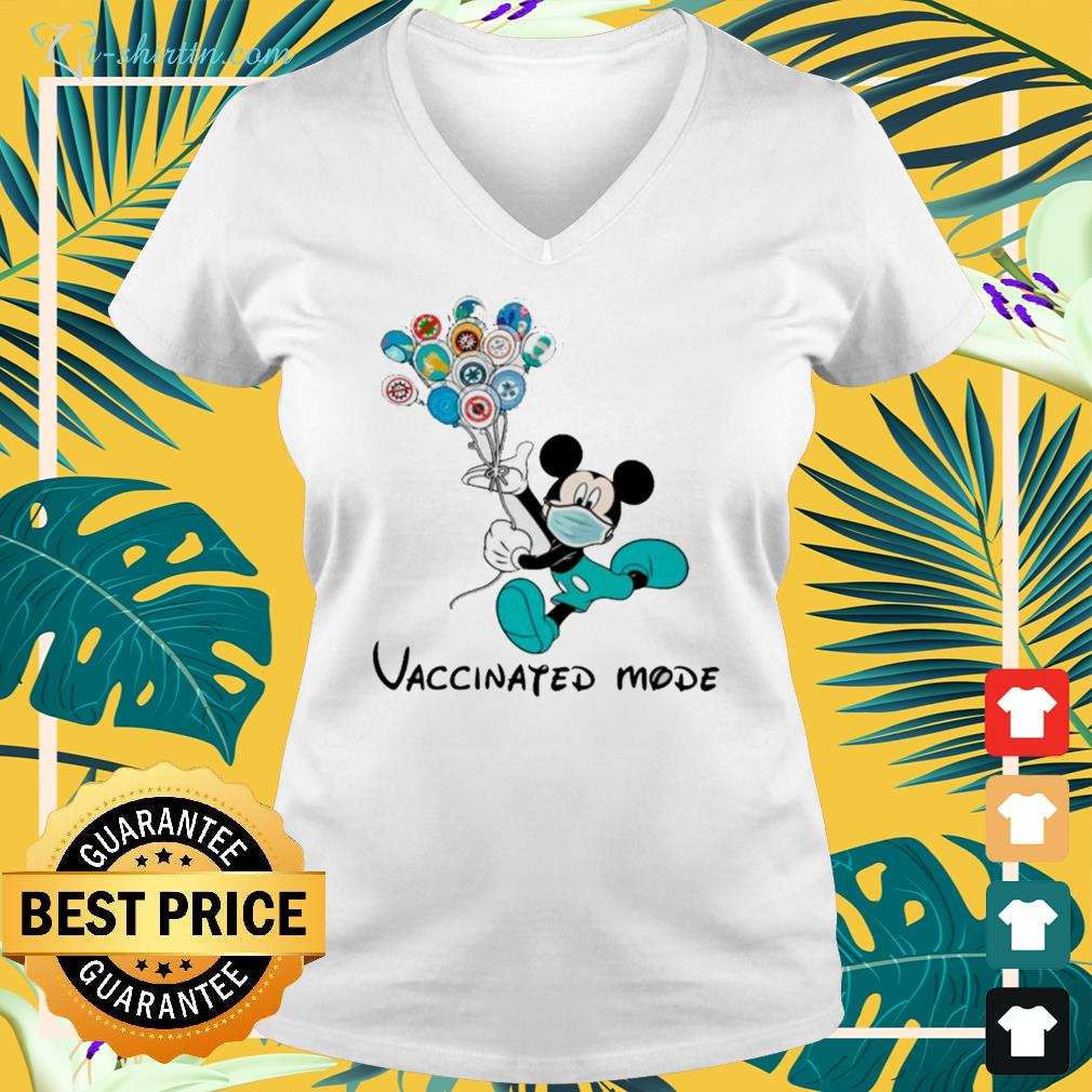 Mickey Mouse face mask vaccinated mode v-neck t-shirt