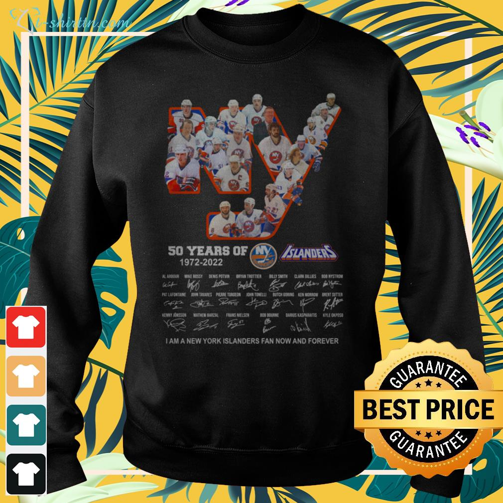 New York Islanders 50 years of 1972-2022 signature I am a New York Islanders fan now and forever sweater