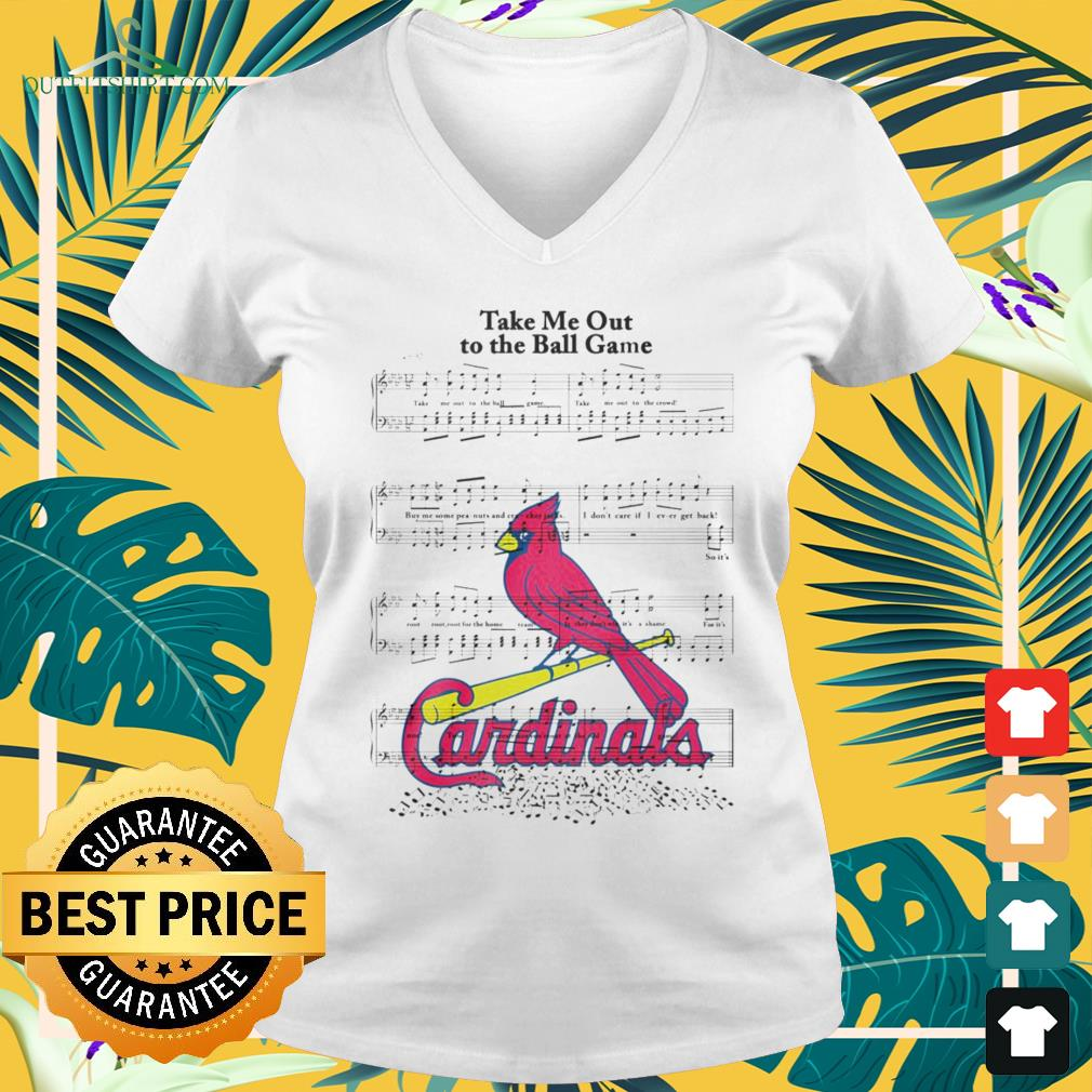 Take me out to the ball game song Arizona Cardinals v-neck t-shirt