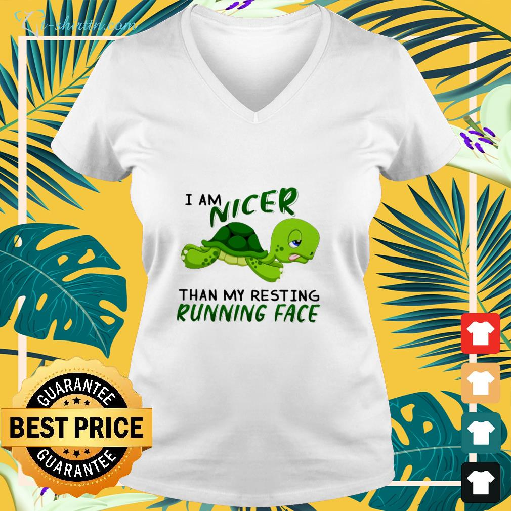 Turtle I am nicer than my resting running face v-neck t-shirt