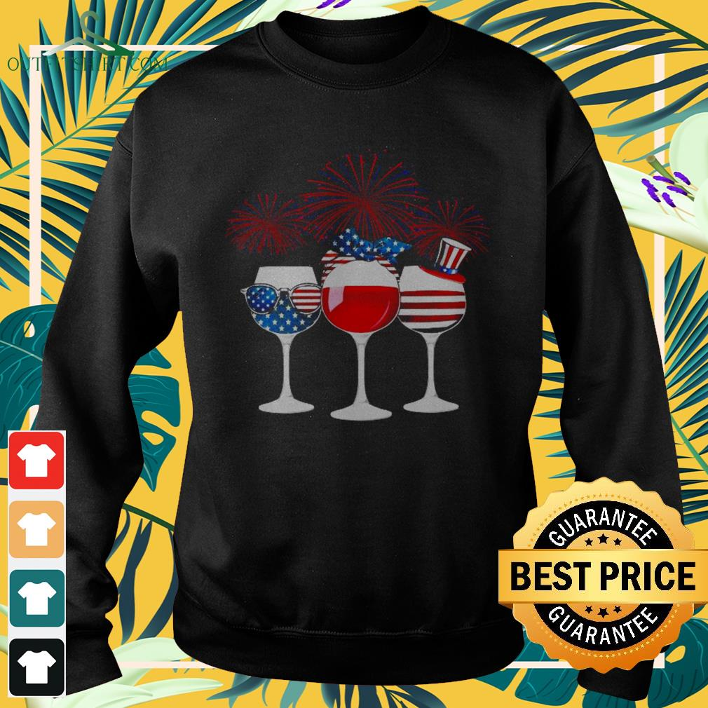 Wine American flag happy 4th of July Sweater