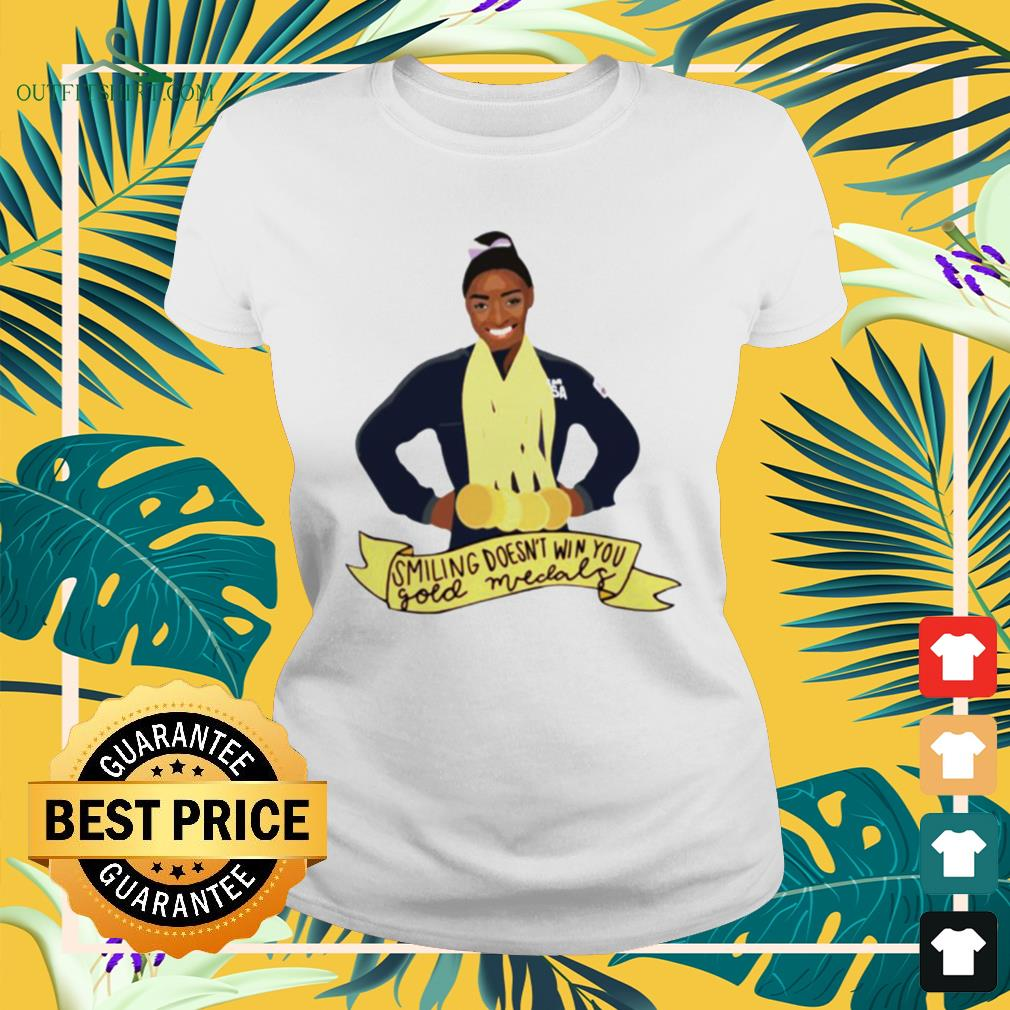 Simone Arianne Biles Smiling doesn't win you gold medals waterproof ladies-tee