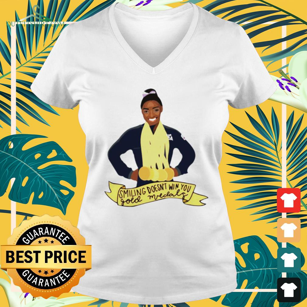 Simone Arianne Biles Smiling doesn't win you gold medals waterproof v-neck t-shirt